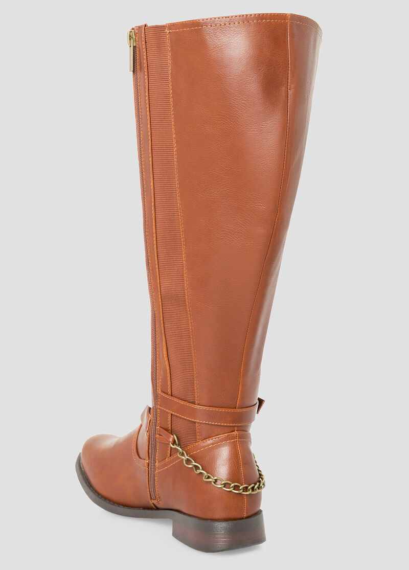 plus size ankle buckle boot wide calf 068