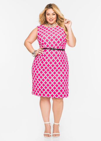 Baroque Print Belted Sheath Dress