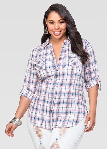 Plaid Button Front Shirt