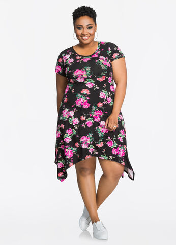 Floral Print Crew Neck Swing Dress