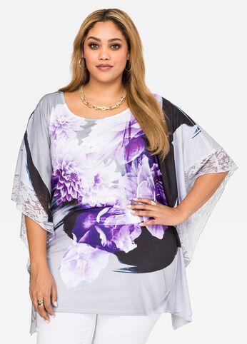 Watercolor Floral Poncho Top Purple Magic - Tops
