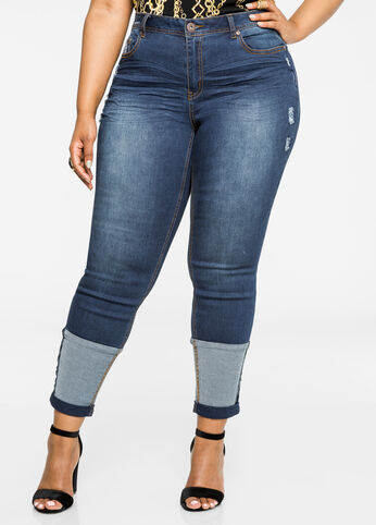 Patched Cuff Skinny Jean Indigo - Clearance