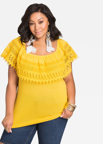 Crocheted Lace Off-Shoulder Top Solar Power - Tops