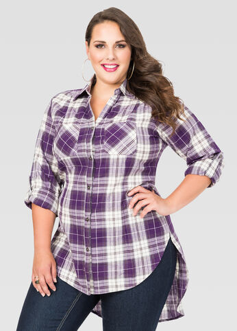 Plaid Hi-Lo Tunic Shirt