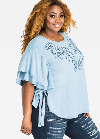 Embroidered Flutter Sleeve Chambray Top