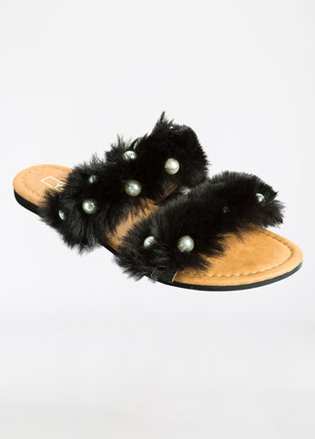 Fur N Pearl Slide Sandal