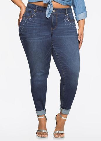 Rhinestone Trim Skinny Jean Medium Blue - Clearance