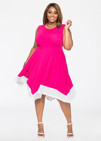 Colorblock Hanky Hem A-Line Dress Beetroot Purple - Dresses