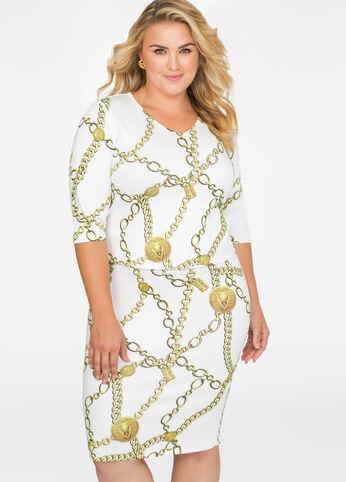 Chain Print Slim Skirt