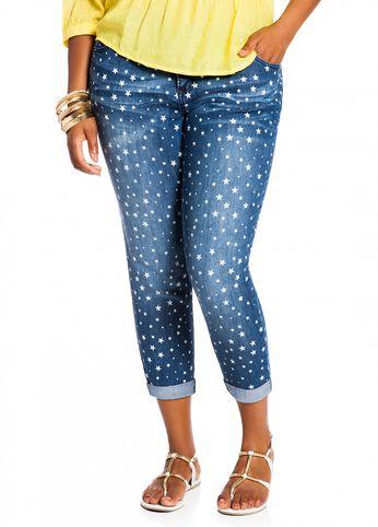 Star Print Skinny Ankle Denim