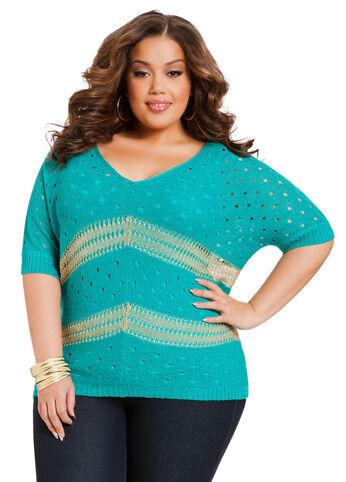 Crochet Lurex Stripe Sweater