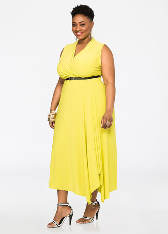 Belted Sleeveless Surplice Maxi Dress Mandalay Lime - Clearance