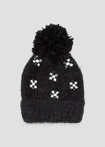 Jeweled Pom Beanie Hat