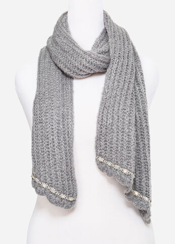 Rhinestone Embellished Knit Scarf