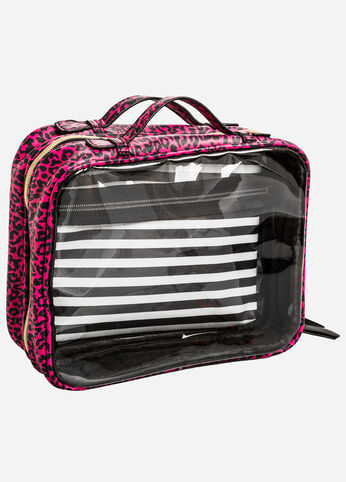 Large Double Pocket Cosmetic Case Pink - Clearance