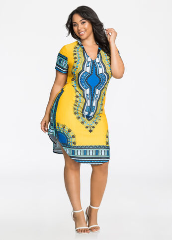 Dashiki Kaftan Shirtdress