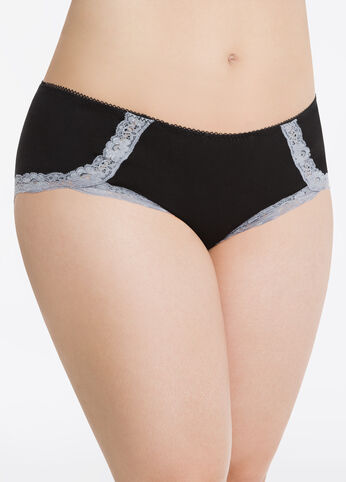 Cotton Hipster Panty with Lace Leg