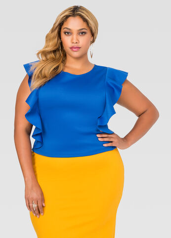 Cascading Ruffle Front Crop Top