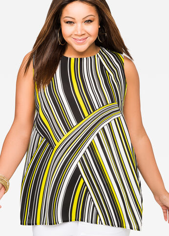 Striped Buckle Back Sleeveless Top