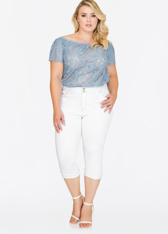 Stacked Button Cuffed Capri Jeans White - Shorts