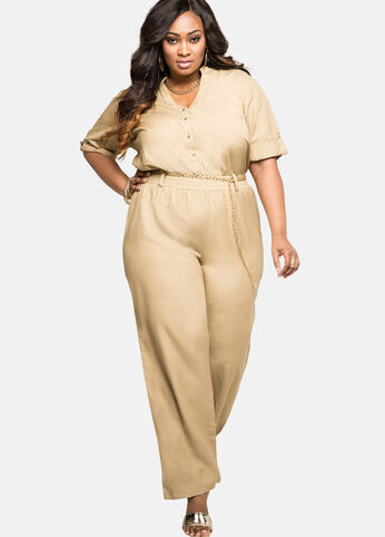 Chain Belt Linen Jumpsuit