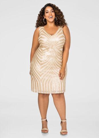 Diamond Sequin Sheath Dress