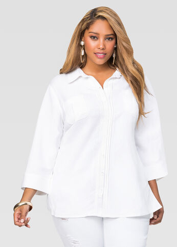 Pintuck Button Front Linen Shirt