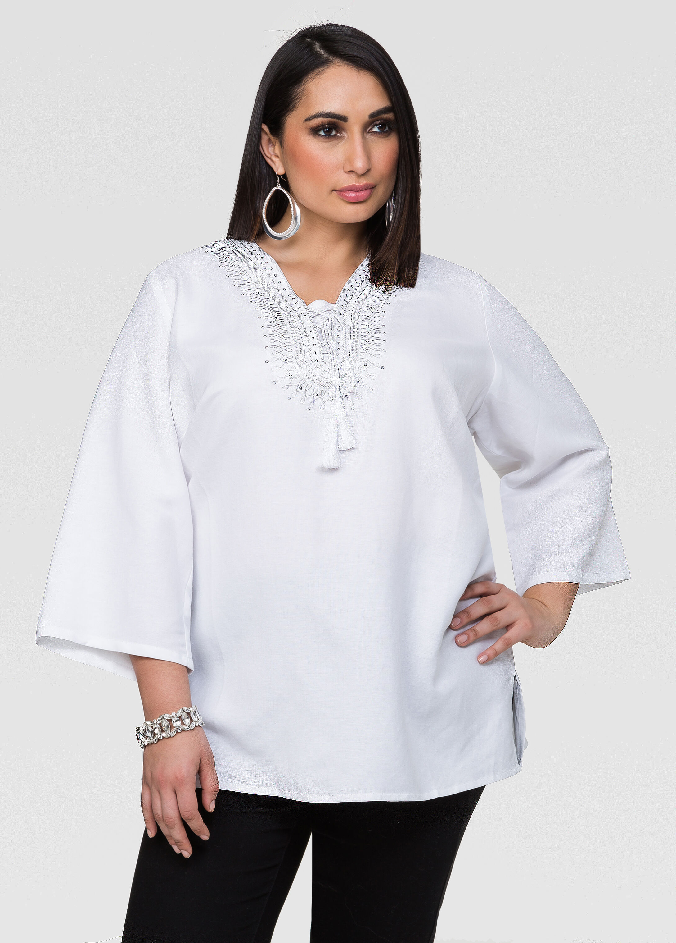 Linen Blend Lace-Up Tunic-Plus Size Shirts-Ashley Stewart-035-NC5185