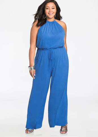 Chain Neck Blouson Halter Jumpsuit Victoria Blue - Dresses