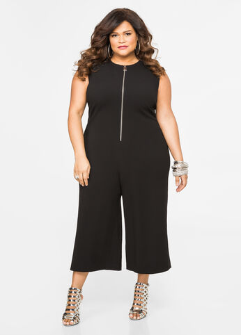 Zip Front Gaucho Jumpsuit Black - Dresses
