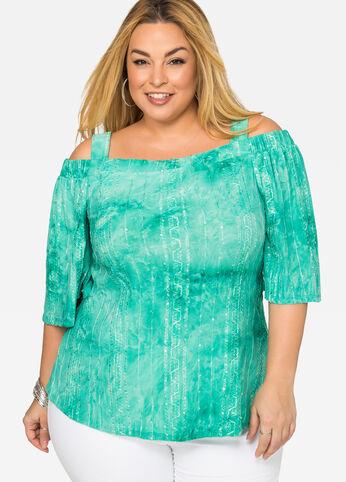 Tie Dye Sequin Top Viridian Green - Tees