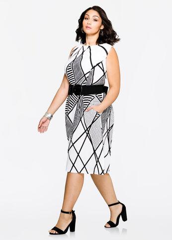 Belted Textured Geo Dress