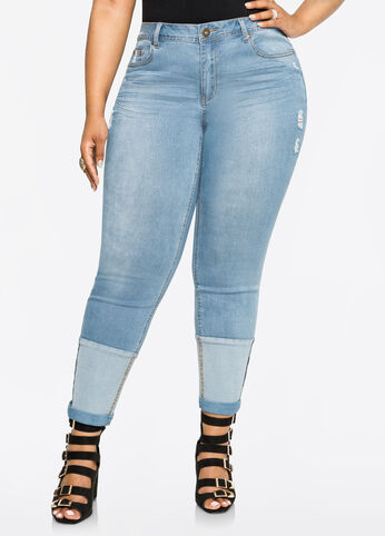 Patched Cuff Skinny Jean