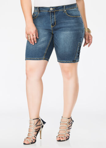 Lace-Up Jean Bermuda Shorts