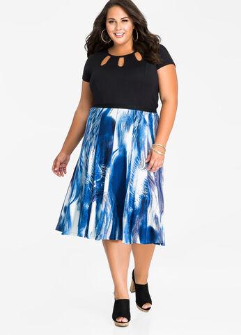Watercolor Exposed Seam Skirt