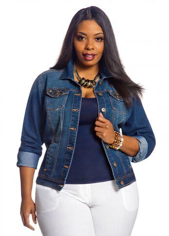 Stud Embellished Denim Jacket