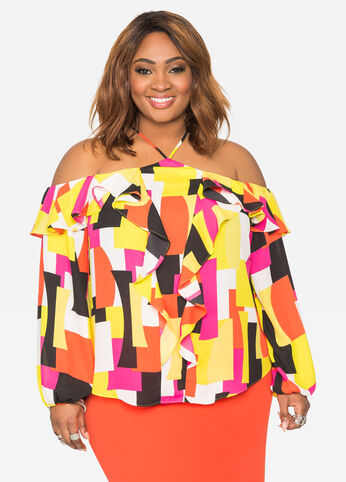 Geo Print Off-Shoulder Ruffle Blouse