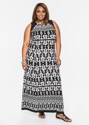 Colorblock Shoulder Print Maxi Dress