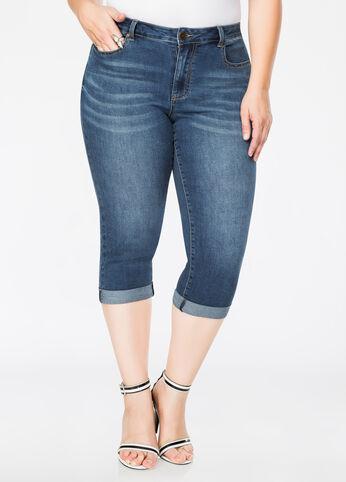 5-Pocket Rolled Cuff Capri Jean Medium Blue - Jeans