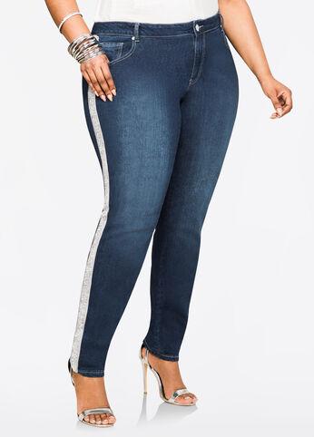 Embellished Side Skinny Jean Indigo - Clearance