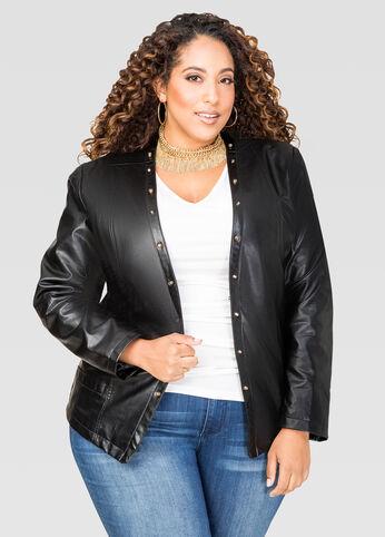 Stud Detail Faux Leather Jacket