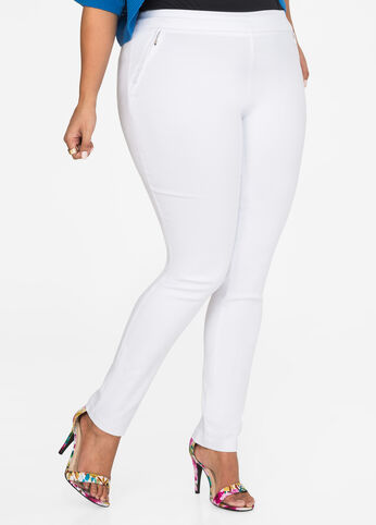 Ultra Stretch Zip Skinny Pant White - Bottoms