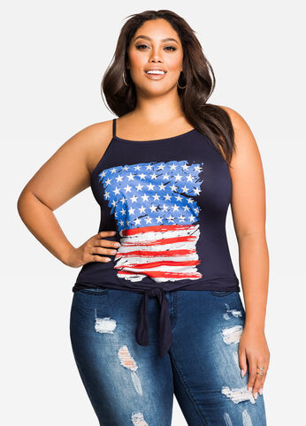 American Flag Tie Front Tank