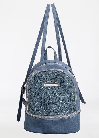 Glitter Sequin Colorblock Mini Backpack Denim - Accessories