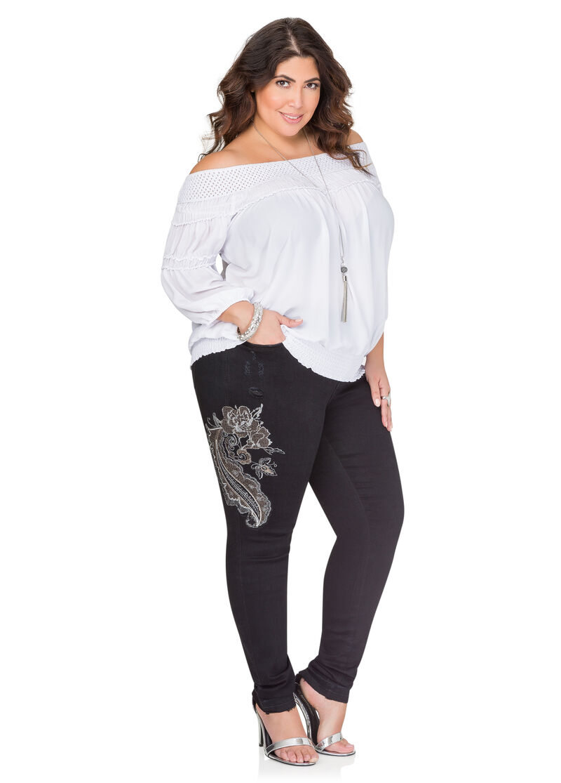 Embroidered Metallic Paisley Skinny JeanPlus Size Jeans