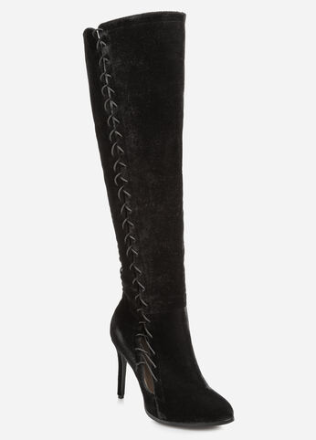 Lace-Up Velvet Tall Boot - Wide Calf, Wide Width