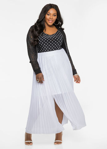Pleated Chiffon Maxi Skirt White - Clearance