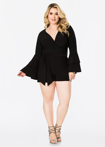Tiered Bell Sleeve Surplice Romper
