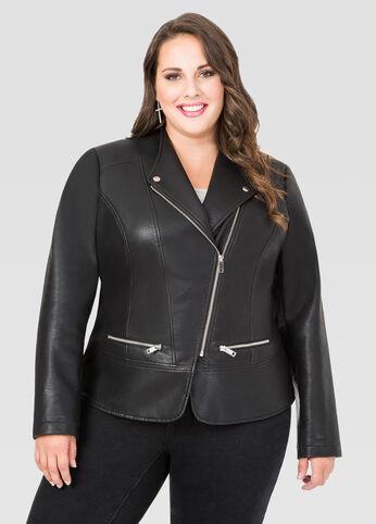 Zip Pocket Faux Leather Jacket