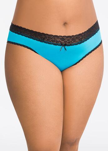 Lace Back Micro Bikini Panty Turquoise Aqua - Intimates